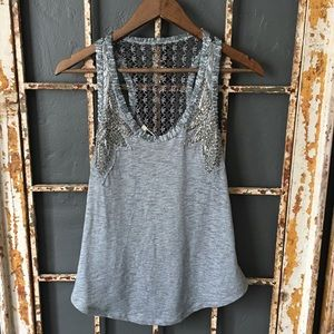 Miss Me Embellished Gray Tank Top Size Small